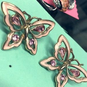 Cute Gold Tone and Pink Butterfly Earrings